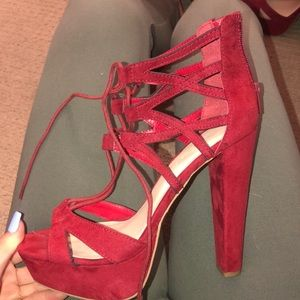 Red sexy straps high heels